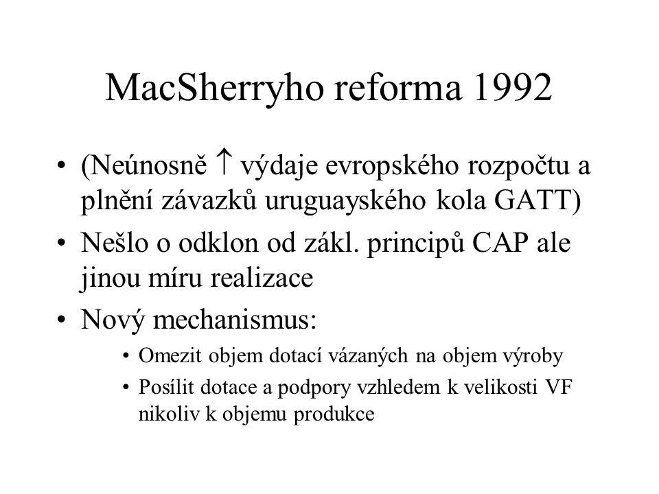 MacSherryho reforma 1992 (Neúnosně  výdaje evropského rozpočtu a plnění závazků uruguayského kola GATT) Nešlo o odklon od zákl.