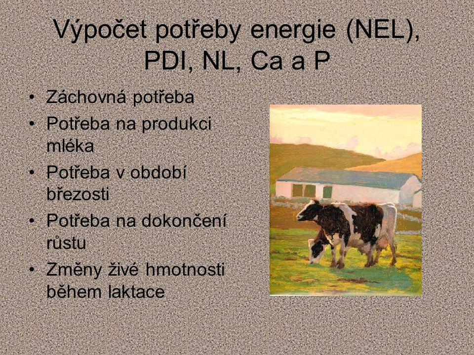 Výpočet potřeby energie (NEL), PDI, NL, Ca a P Záchovná potřeba Potřeba na produkci mléka Potřeba v období březosti Potřeba na dokončení růstu Změny ž