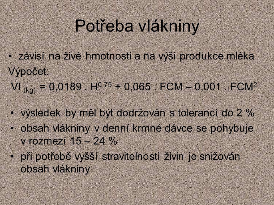 Potřeba vlákniny závisí na živé hmotnosti a na výši produkce mléka Výpočet: Vl (kg) = 0,0189. H 0,75 + 0,065. FCM – 0,001. FCM 2 výsledek by měl být d
