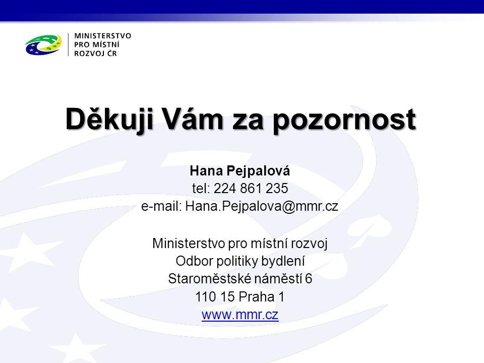 Děkuji Vám za pozornost Hana Pejpalová tel: 224 861 235 e-mail: Hana.Pejpalova@mmr.cz Ministerstvo pro místní rozvoj Odbor politiky bydlení Staroměsts