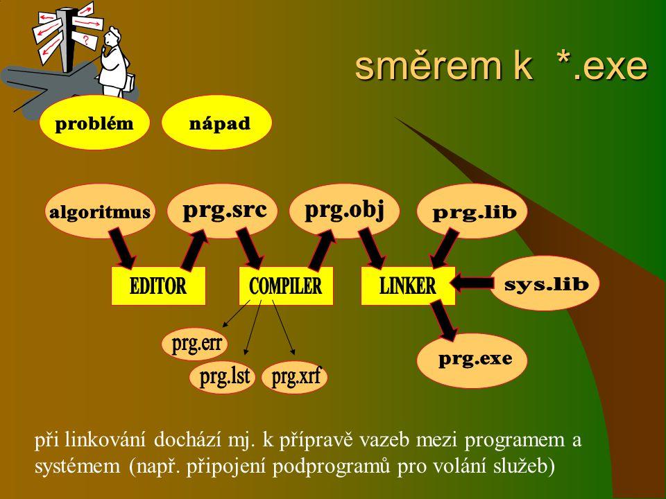 směrem k *.exe při linkování dochází mj. k přípravě vazeb mezi programem a systémem (např. připojení podprogramů pro volání služeb)