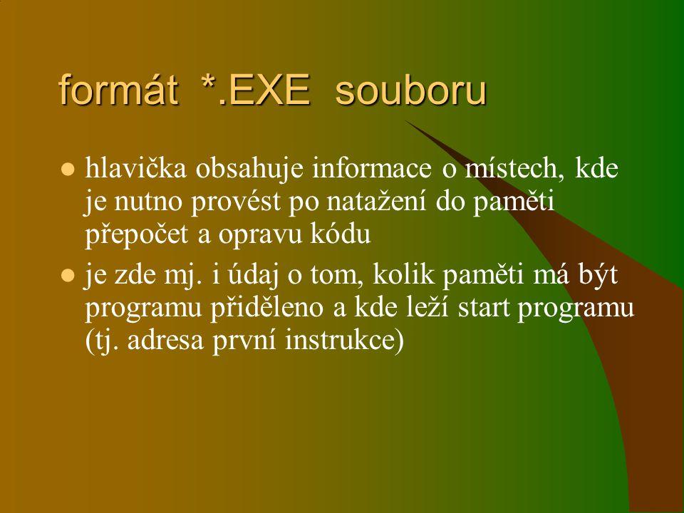 formát *.EXE souboru hlavička obsahuje informace o místech, kde je nutno provést po natažení do paměti přepočet a opravu kódu je zde mj. i údaj o tom,