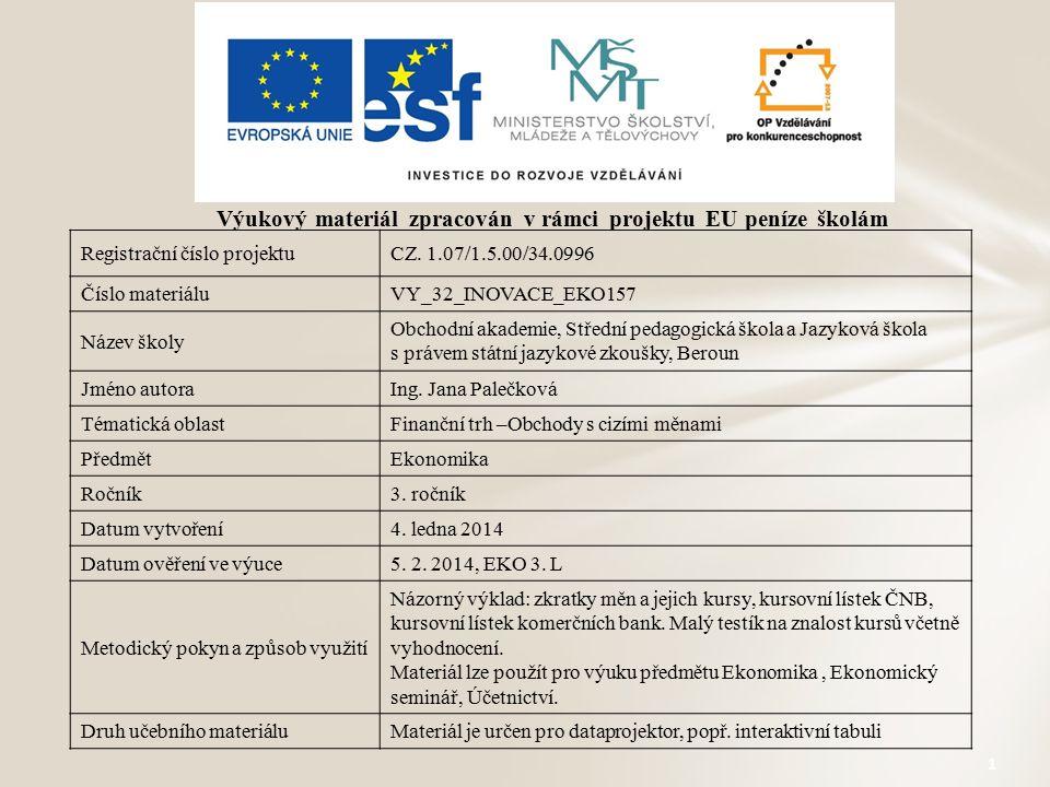 1 Výukový materiál zpracován v rámci projektu EU peníze školám Registrační číslo projektuCZ. 1.07/1.5.00/34.0996 Číslo materiáluVY_32_INOVACE_EKO157 N