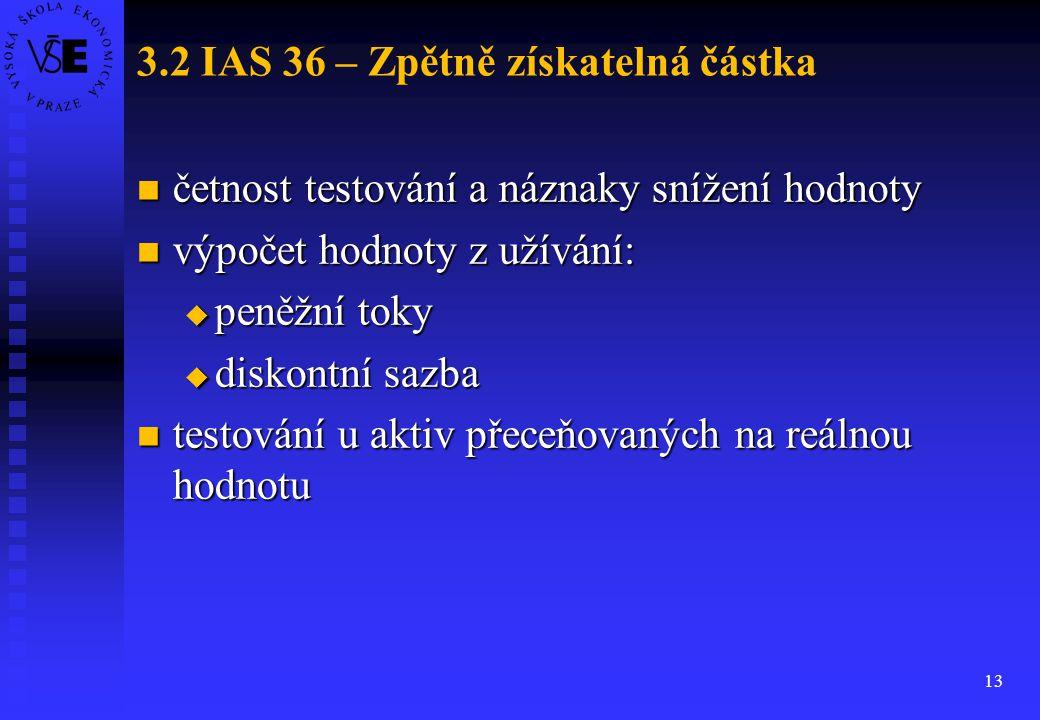 13 3.2 IAS 36 – Zpětně získatelná částka četnost testování a náznaky snížení hodnoty četnost testování a náznaky snížení hodnoty výpočet hodnoty z uží