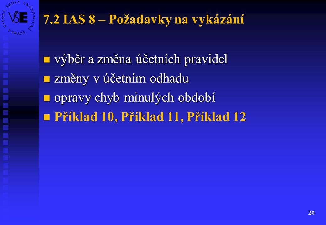 20 7.2 IAS 8 – Požadavky na vykázání výběr a změna účetních pravidel výběr a změna účetních pravidel změny v účetním odhadu změny v účetním odhadu opr