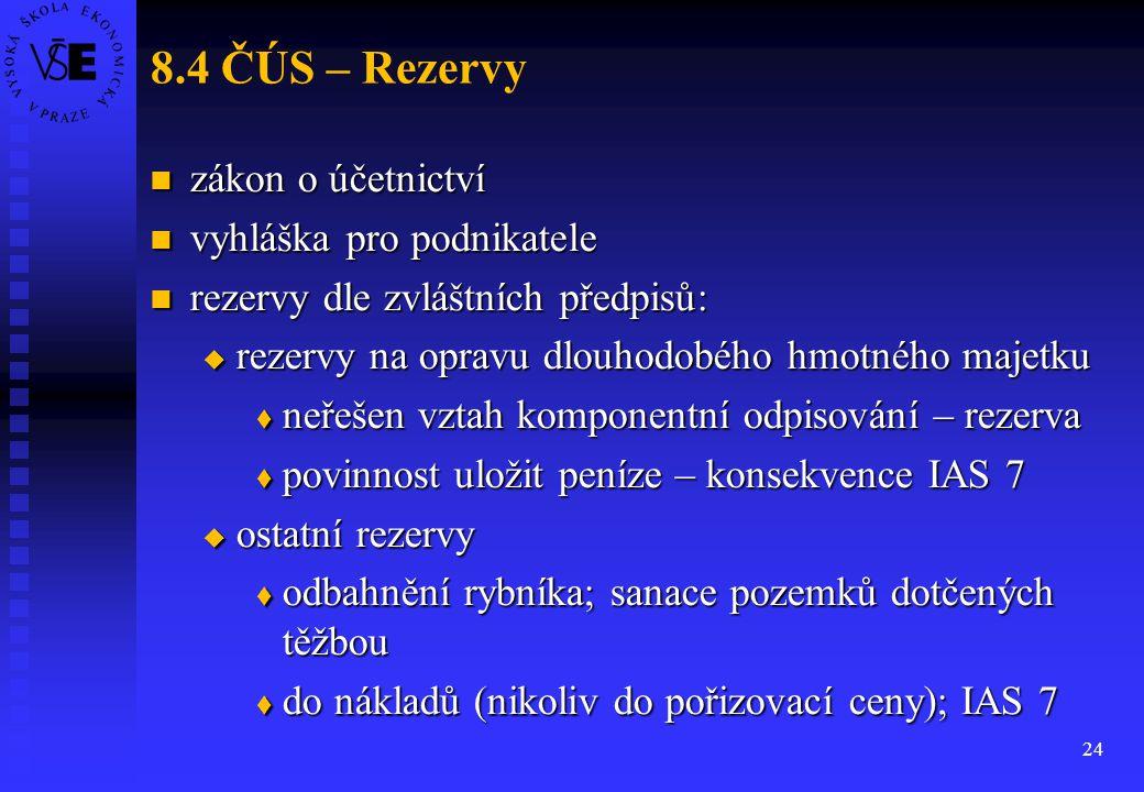 24 8.4 ČÚS – Rezervy zákon o účetnictví zákon o účetnictví vyhláška pro podnikatele vyhláška pro podnikatele rezervy dle zvláštních předpisů: rezervy