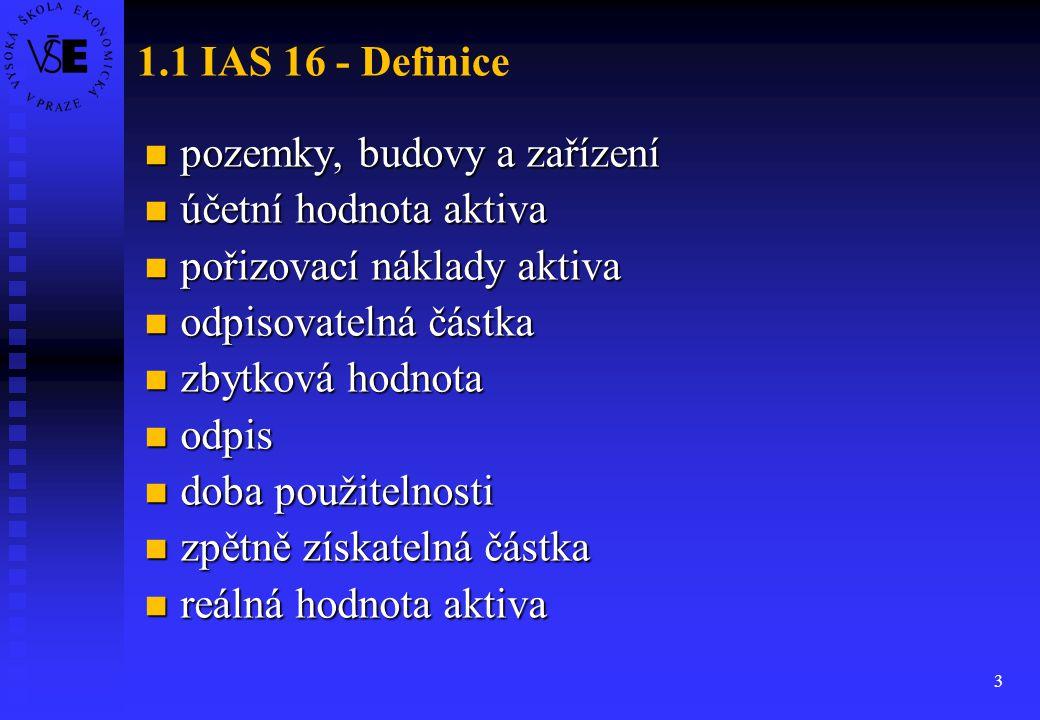 3 1.1 IAS 16 - Definice pozemky, budovy a zařízení pozemky, budovy a zařízení účetní hodnota aktiva účetní hodnota aktiva pořizovací náklady aktiva po