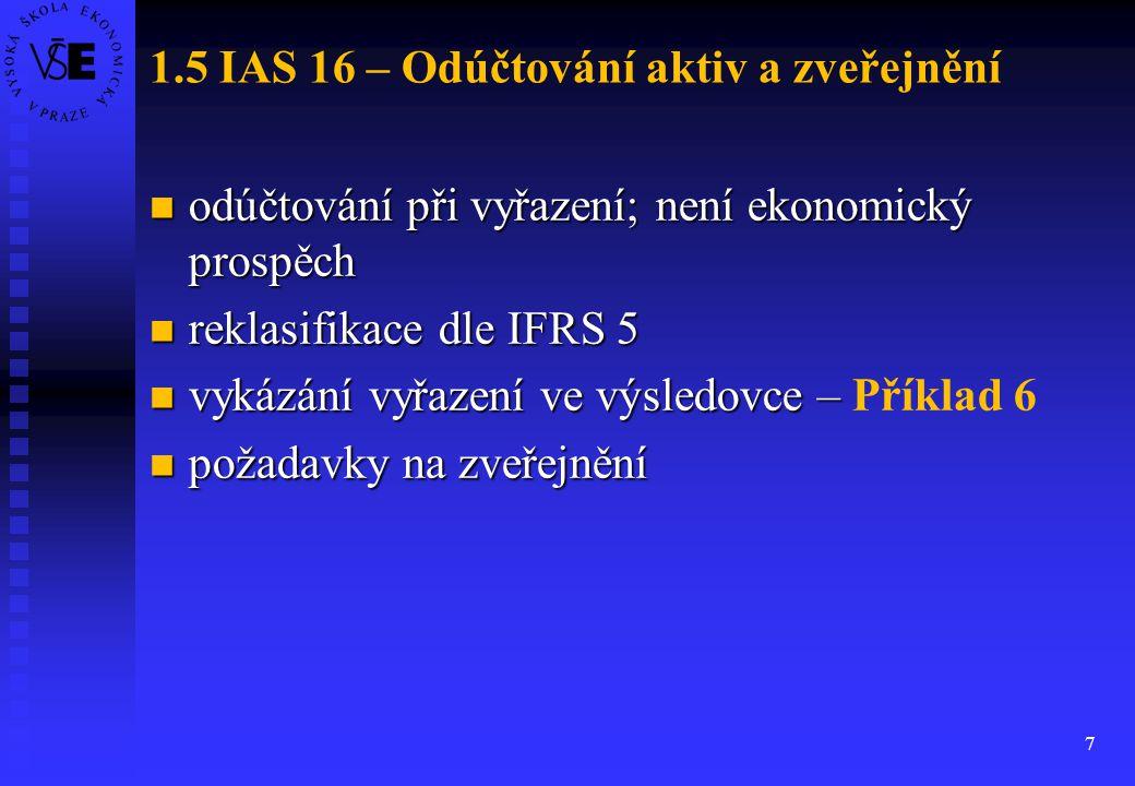 7 1.5 IAS 16 – Odúčtování aktiv a zveřejnění odúčtování při vyřazení; není ekonomický prospěch odúčtování při vyřazení; není ekonomický prospěch rekla
