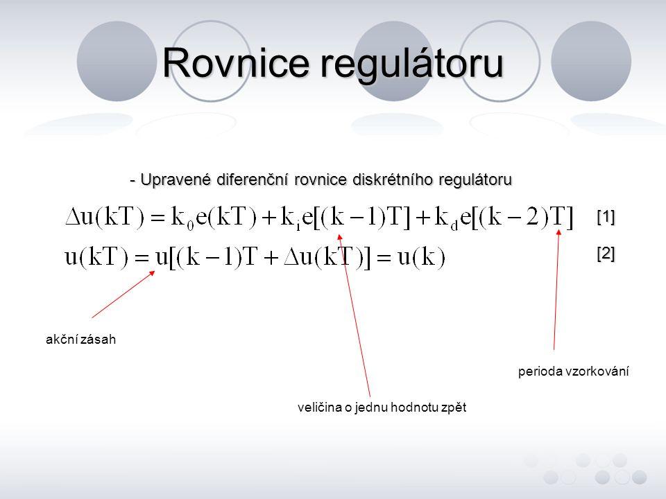Rovnice regulátoru - Upravené diferenční rovnice diskrétního regulátoru [1] [2][2][2][2] veličina o jednu hodnotu zpět perioda vzorkování akční zásah