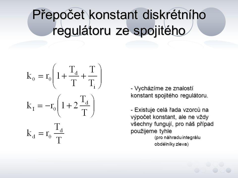 Přepočet konstant diskrétního regulátoru ze spojitého - Vycházíme ze znalostí konstant spojitého regulátoru. - Existuje celá řada vzorců na výpočet ko