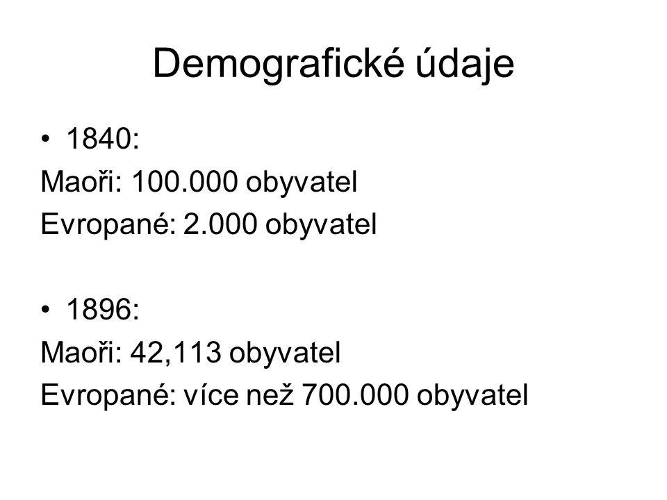 Demografické údaje 1840: Maoři: 100.000 obyvatel Evropané: 2.000 obyvatel 1896: Maoři: 42,113 obyvatel Evropané: více než 700.000 obyvatel