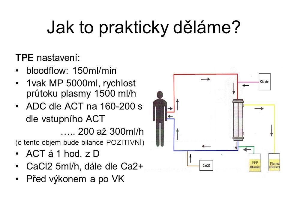 Jak to prakticky děláme? TPE nastavení: bloodflow: 150ml/min 1vak MP 5000ml, rychlost průtoku plasmy 1500 ml/h ADC dle ACT na 160-200 s dle vstupního