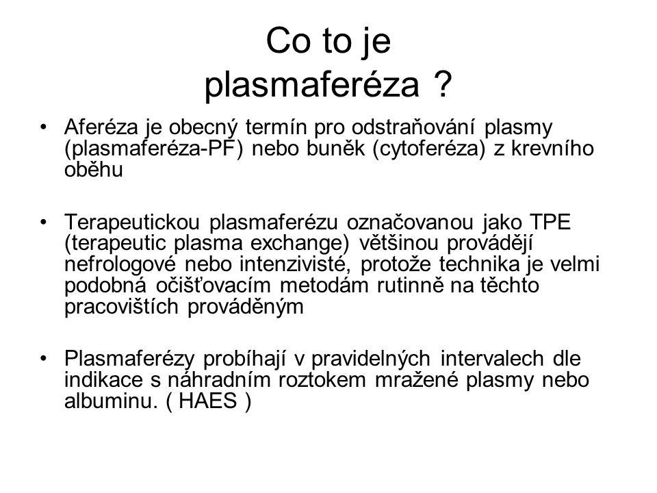 Co to je plasmaferéza ? Aferéza je obecný termín pro odstraňování plasmy (plasmaferéza-PF) nebo buněk (cytoferéza) z krevního oběhu Terapeutickou plas