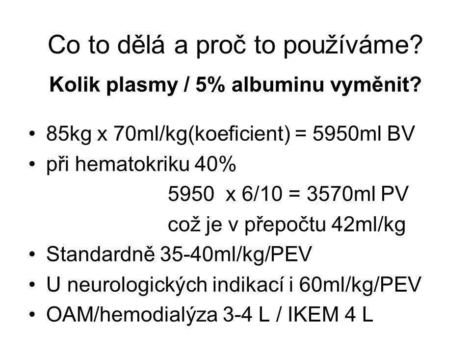 Kolik plasmy / 5% albuminu vyměnit? 85kg x 70ml/kg(koeficient) = 5950ml BV při hematokriku 40% 5950 x 6/10 = 3570ml PV což je v přepočtu 42ml/kg Stand