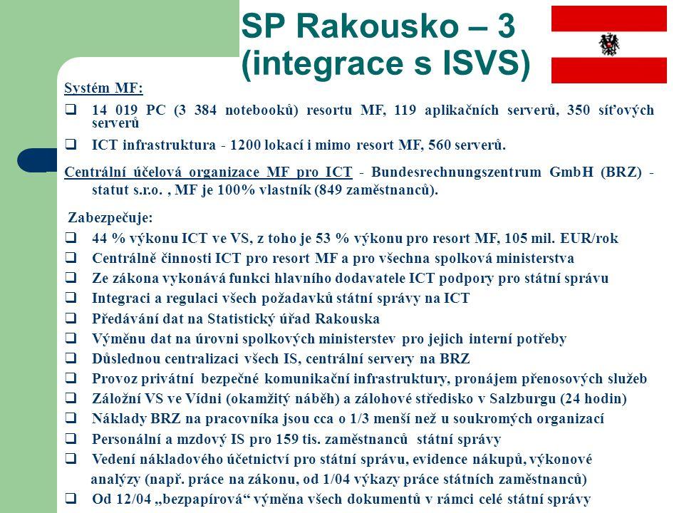 SP Rakousko – 3 (integrace s ISVS) Systém MF:  14 019 PC (3 384 notebooků) resortu MF, 119 aplikačních serverů, 350 síťových serverů  ICT infrastruk