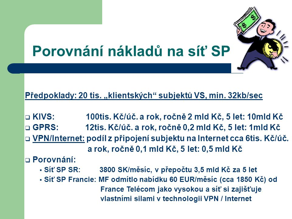 """Porovnání nákladů na síť SP Předpoklady: 20 tis. """"klientských"""" subjektů VS, min. 32kb/sec  KIVS: 100tis. Kč/úč. a rok, ročně 2 mld Kč, 5 let: 10mld K"""