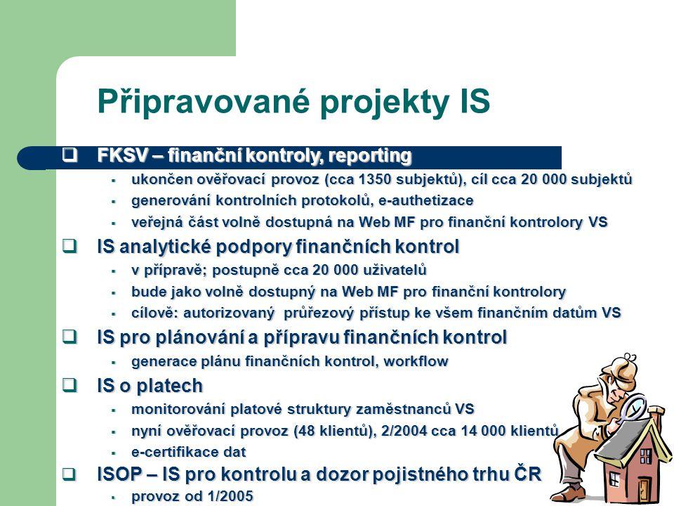 Připravované projekty IS  FKSV – finanční kontroly, reporting  ukončen ověřovací provoz (cca 1350 subjektů), cíl cca 20 000 subjektů  generování ko