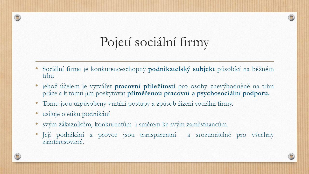 Pojetí sociální firmy Sociální firma je konkurenceschopný podnikatelský subjekt působící na běžném trhu jehož účelem je vytvářet pracovní příležitosti pro osoby znevýhodněné na trhu práce a k tomu jim poskytovat přiměřenou pracovní a psychosociální podporu.