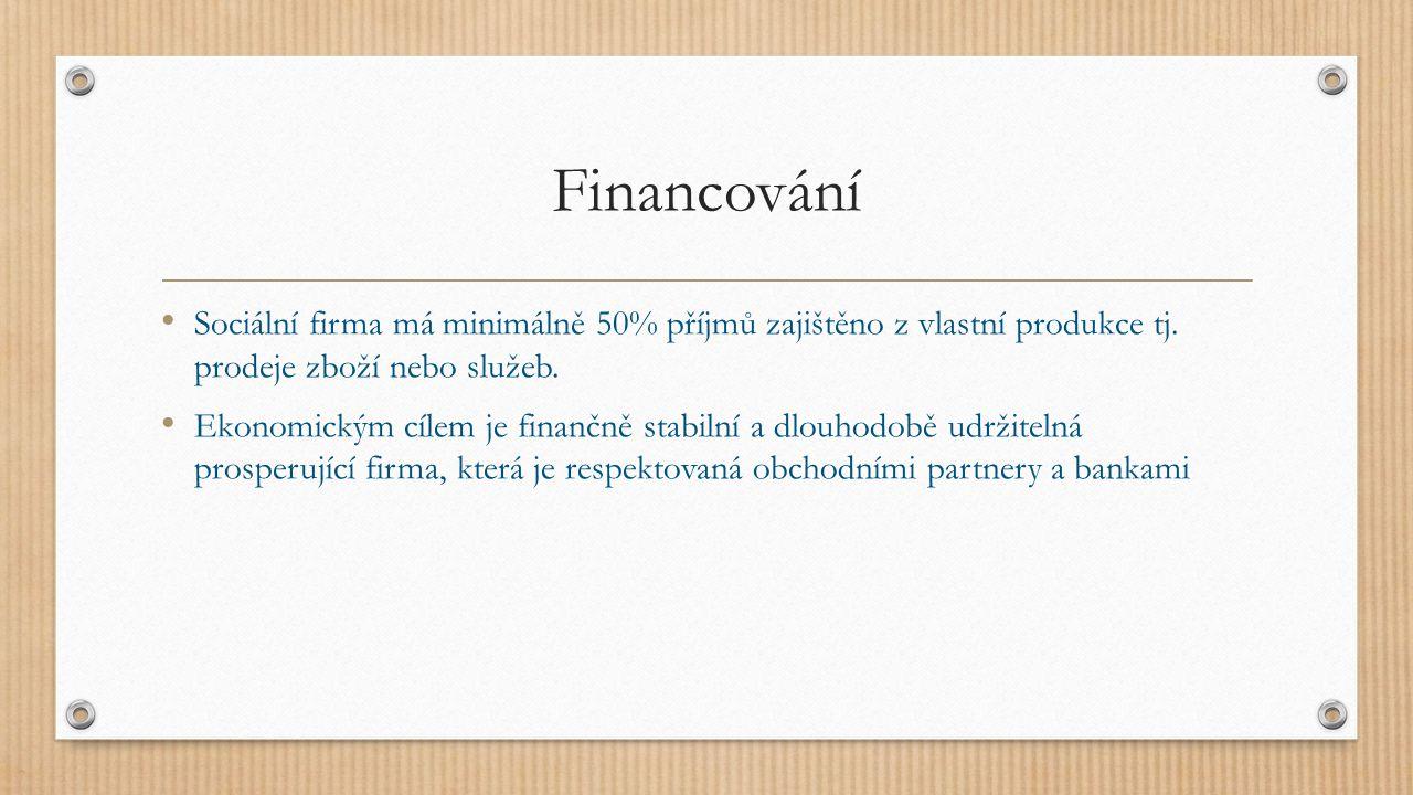 Financování Sociální firma má minimálně 50% příjmů zajištěno z vlastní produkce tj.