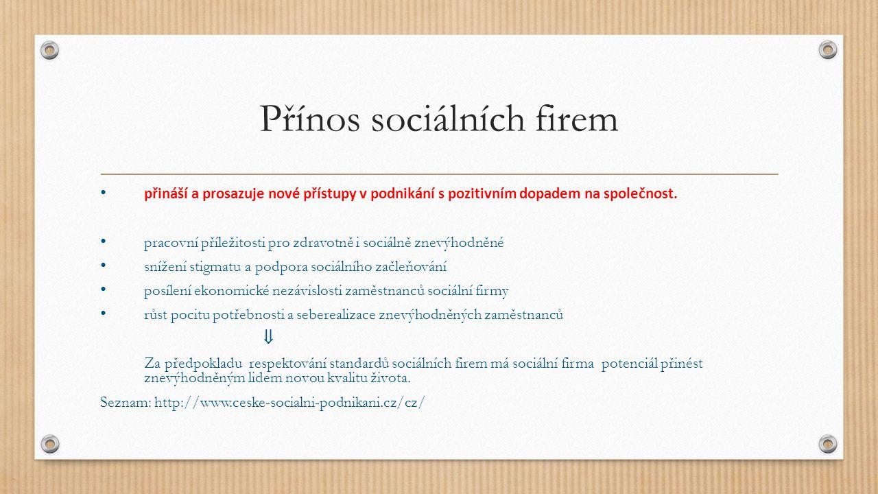 Přínos sociálních firem přináší a prosazuje nové přístupy v podnikání s pozitivním dopadem na společnost.