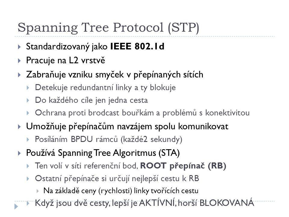 Spanning Tree Protocol (STP)  Standardizovaný jako IEEE 802.1d  Pracuje na L2 vrstvě  Zabraňuje vzniku smyček v přepínaných sítích  Detekuje redun