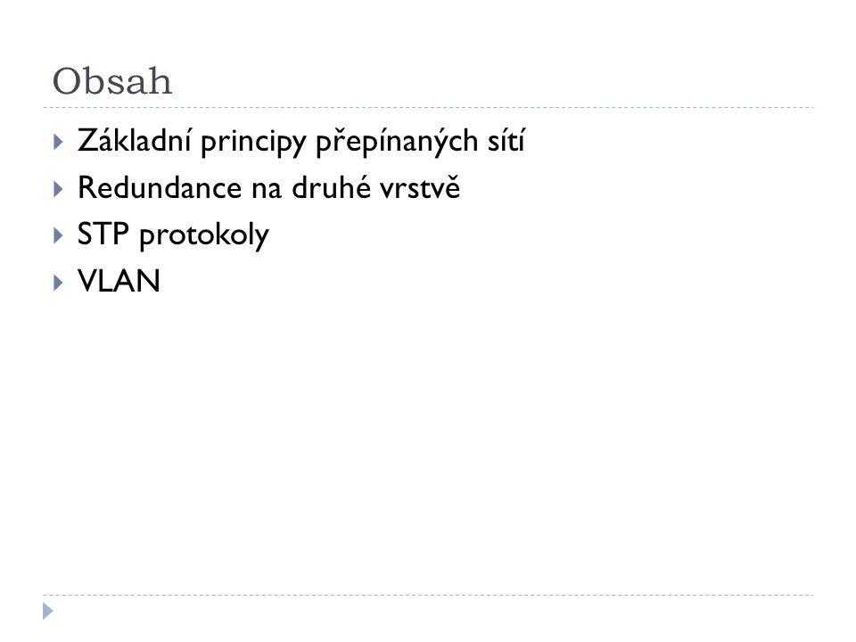 Obsah  Základní principy přepínaných sítí  Redundance na druhé vrstvě  STP protokoly  VLAN