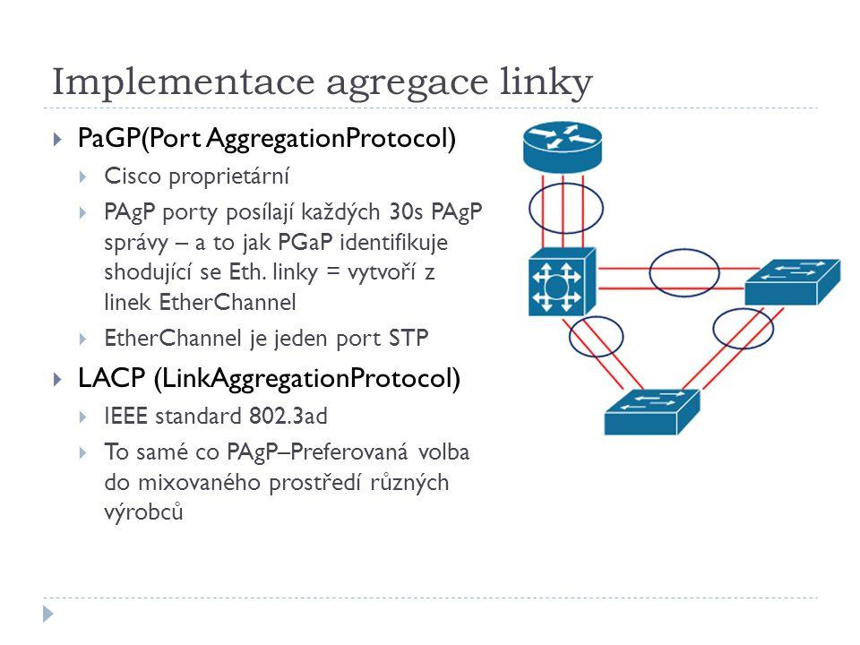Implementace agregace linky  PaGP(Port AggregationProtocol)  Cisco proprietární  PAgP porty posílají každých 30s PAgP správy – a to jak PGaP identi