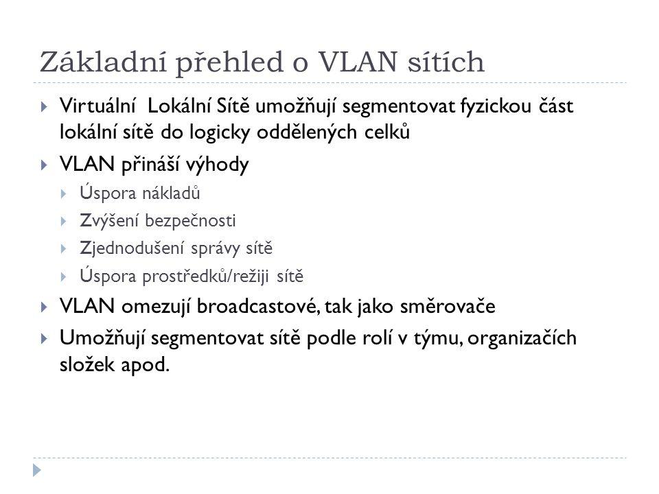 Základní přehled o VLAN sítích  Virtuální Lokální Sítě umožňují segmentovat fyzickou část lokální sítě do logicky oddělených celků  VLAN přináší výh
