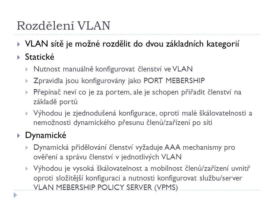 Rozdělení VLAN  VLAN sítě je možné rozdělit do dvou základních kategorií  Statické  Nutnost manuálně konfigurovat členství ve VLAN  Zpravidla jsou