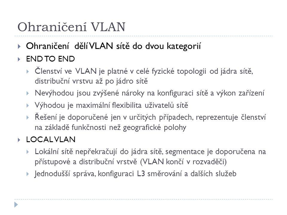 Ohraničení VLAN  Ohraničení dělí VLAN sítě do dvou kategorií  END TO END  Členství ve VLAN je platné v celé fyzické topologii od jádra sítě, distri