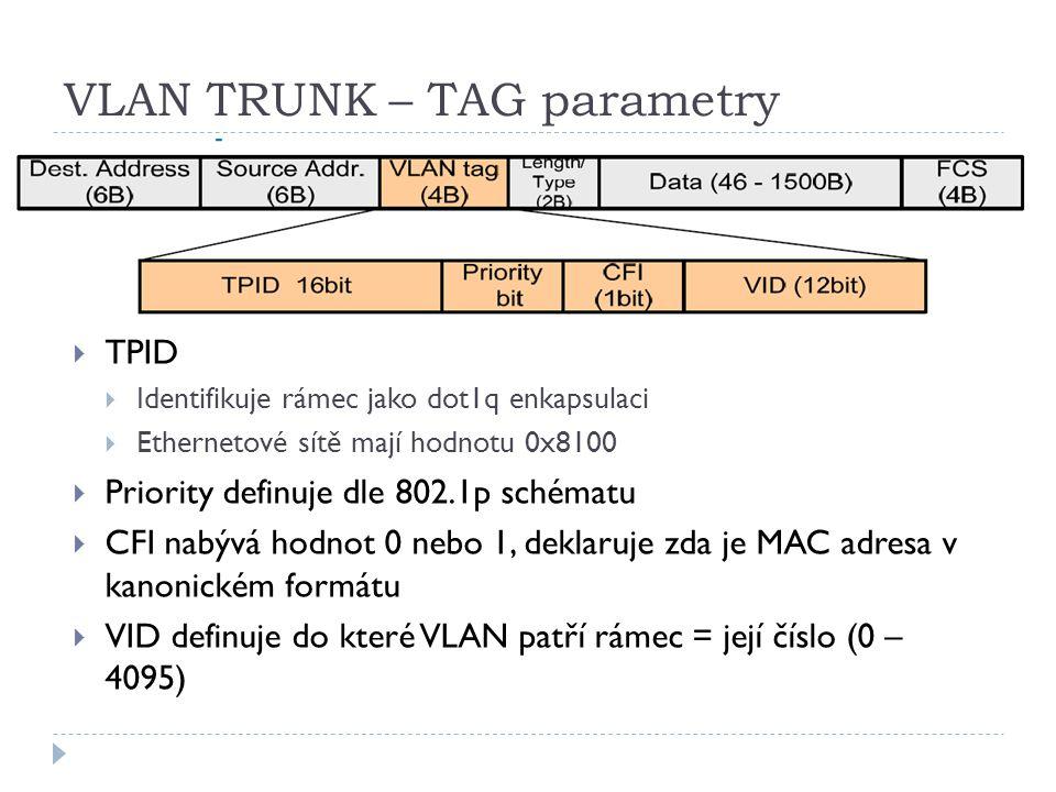 VLAN TRUNK – TAG parametry  TPID  Identifikuje rámec jako dot1q enkapsulaci  Ethernetové sítě mají hodnotu 0x8100  Priority definuje dle 802.1p sc