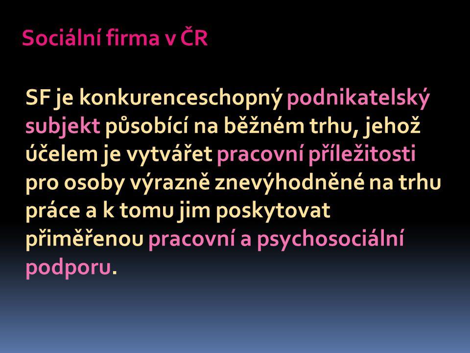 Sociální firma v ČR SF je konkurenceschopný podnikatelský subjekt působící na běžném trhu, jehož účelem je vytvářet pracovní příležitosti pro osoby výrazně znevýhodněné na trhu práce a k tomu jim poskytovat přiměřenou pracovní a psychosociální podporu.