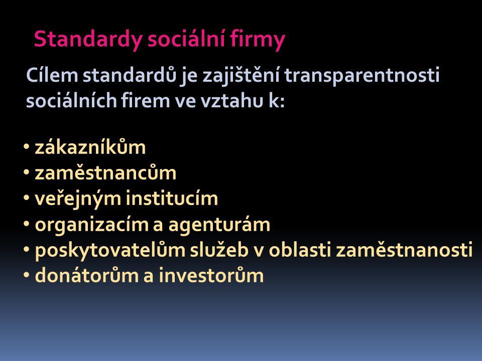 Standardy sociální firmy Cílem standardů je zajištění transparentnosti sociálních firem ve vztahu k: zákazníkům zaměstnancům veřejným institucím organizacím a agenturám poskytovatelům služeb v oblasti zaměstnanosti donátorům a investorům