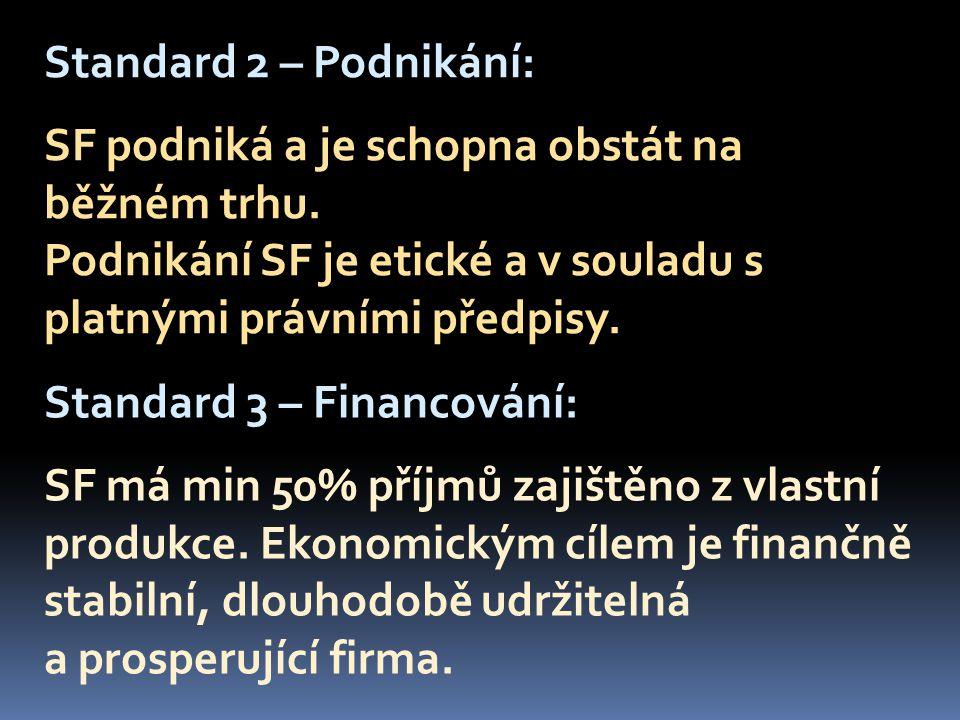 Standard 2 – Podnikání: SF podniká a je schopna obstát na běžném trhu.