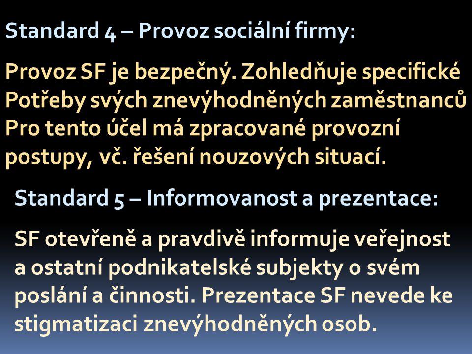 Standard 4 – Provoz sociální firmy: Provoz SF je bezpečný.