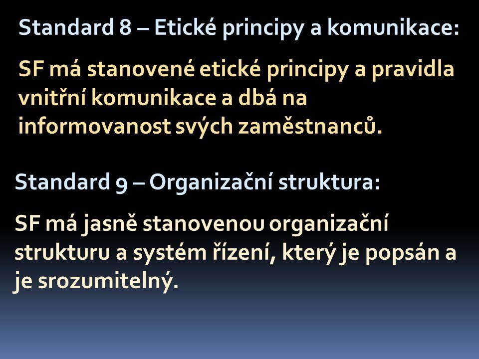 Standard 8 – Etické principy a komunikace: SF má stanovené etické principy a pravidla vnitřní komunikace a dbá na informovanost svých zaměstnanců.