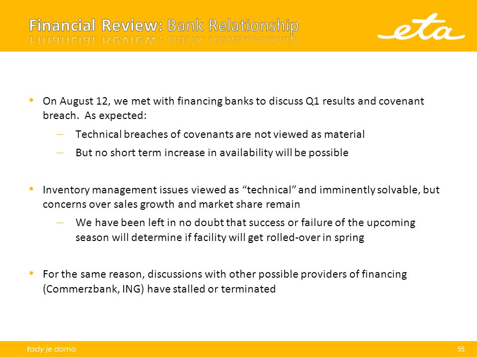 On August 12, we met with financing banks to discuss Q1 results and covenant breach.