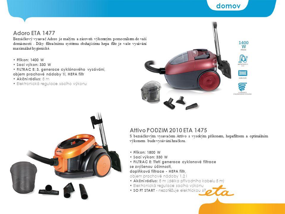 Adoro ETA 1477 Bezsáčkový vysavač Adoro je malým a zároveň výkonným pomocníkem do vaší domácnosti.