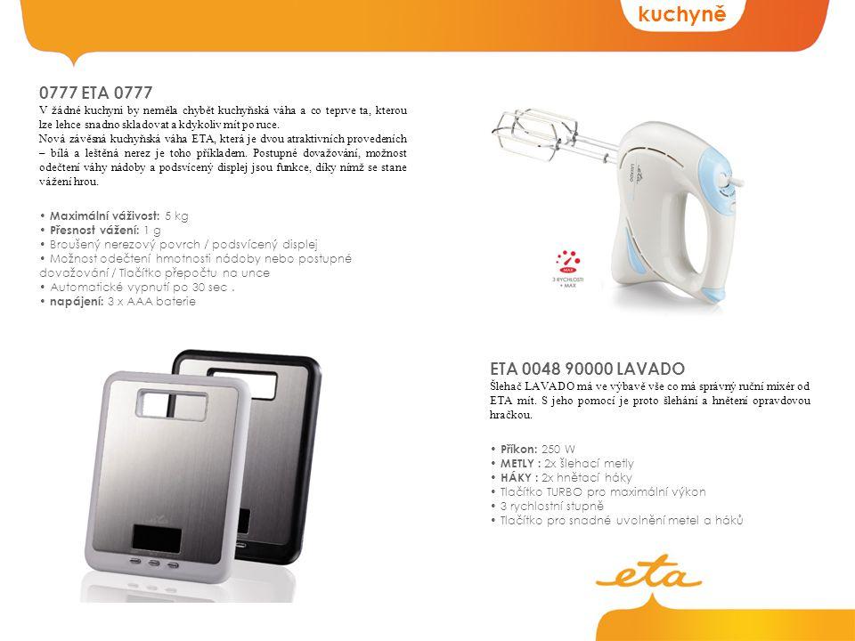 kuchyně ETA 0048 90000 LAVADO Šlehač LAVADO má ve výbavě vše co má správný ruční mixér od ETA mít.
