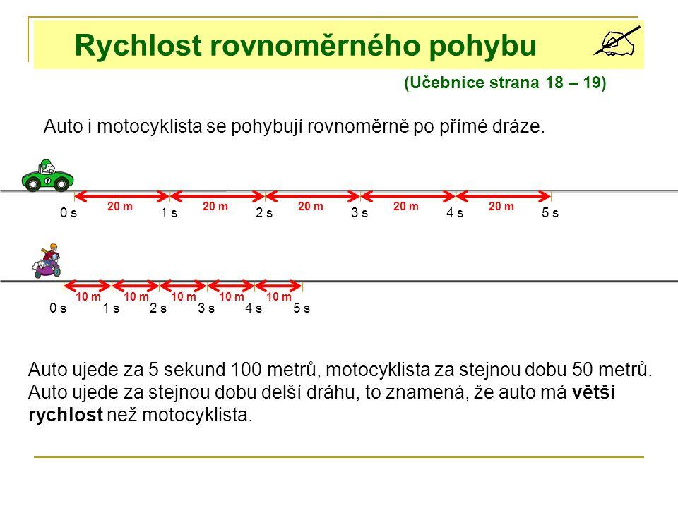 Rychlost rovnoměrného pohybu (Učebnice strana 18 – 19) Auto i motocyklista se pohybují rovnoměrně po přímé dráze. 0 s1 s2 s3 s4 s 0 s1 s3 s4 s5 s 2 s
