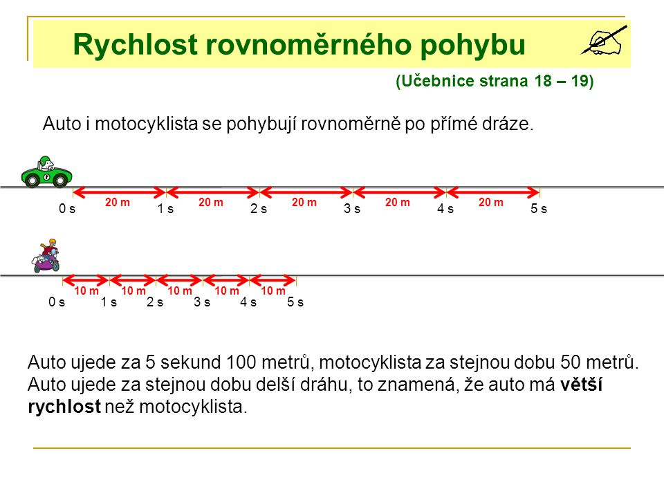 0 s1 s2 s3 s4 s 0 s1 s3 s4 s5 s 2 s 10 m 20 m 6 s8 s9 s7 s 10 m 10 s Auto ujede za 5 sekund 100 metrů, motocyklista za stejnou vzdálenost za 10 sekund.