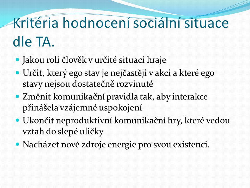 Kritéria hodnocení sociální situace dle TA. Jakou roli člověk v určité situaci hraje Určit, který ego stav je nejčastěji v akci a které ego stavy nejs