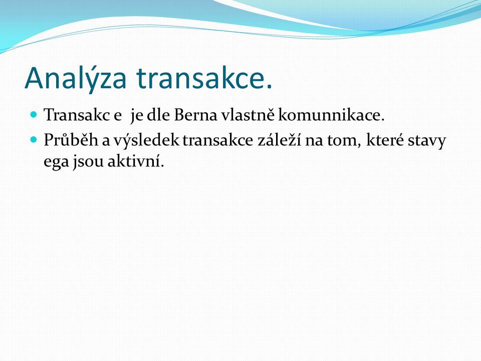 Analýza transakce. Transakc e je dle Berna vlastně komunnikace. Průběh a výsledek transakce záleží na tom, které stavy ega jsou aktivní.