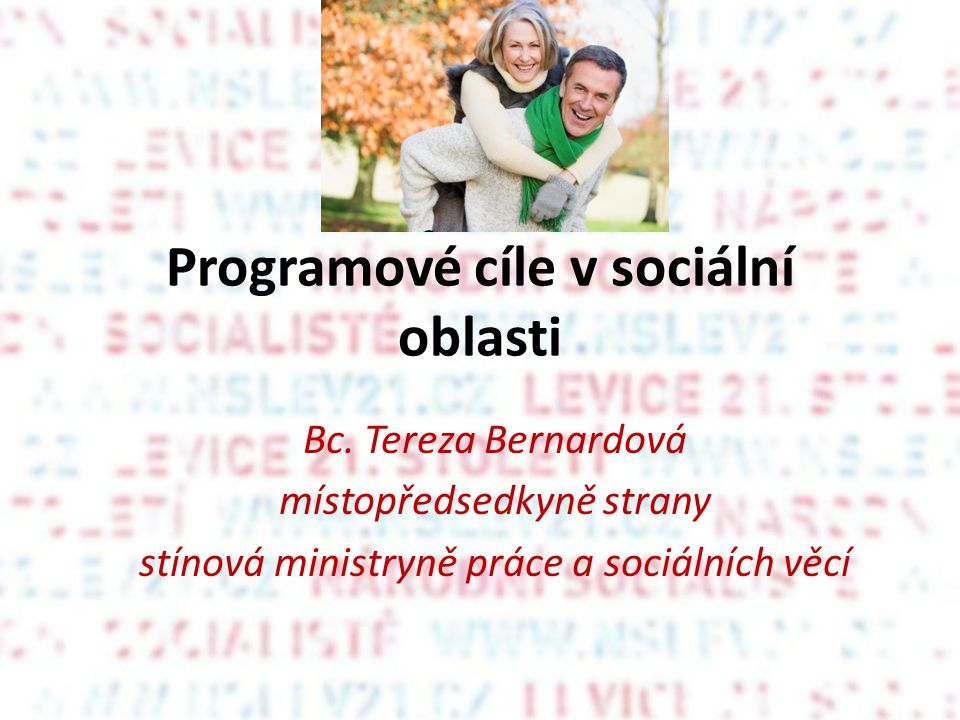 Programové cíle v sociální oblasti Bc.