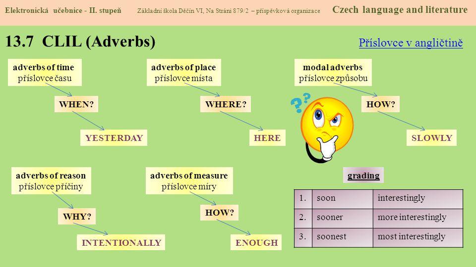 13.7 CLIL (Adverbs) Elektronická učebnice - II.