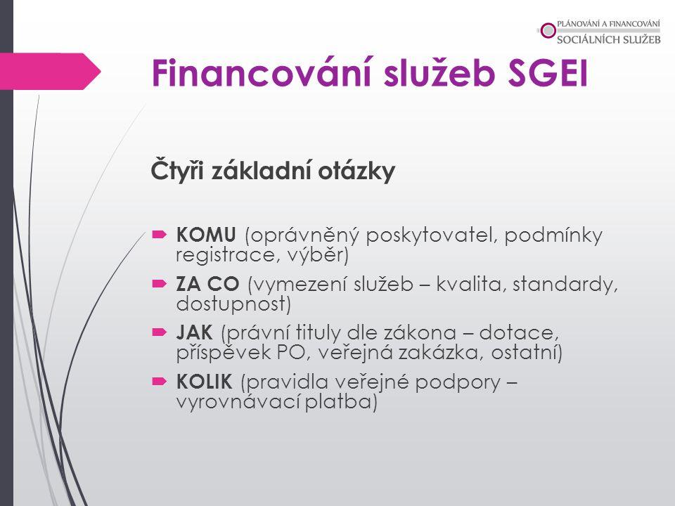 Financování služeb SGEI Čtyři základní otázky  KOMU (oprávněný poskytovatel, podmínky registrace, výběr)  ZA CO (vymezení služeb – kvalita, standard