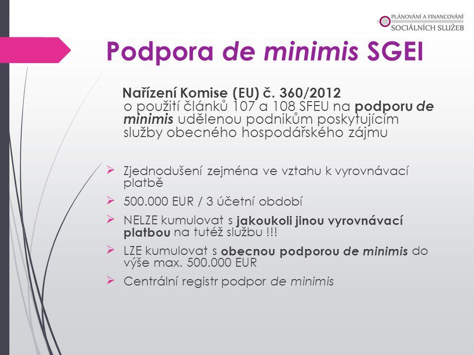 Podpora de minimis SGEI Nařízení Komise (EU) č. 360/2012 o použití článků 107 a 108 SFEU na podporu de minimis udělenou podnikům poskytujícím služby o