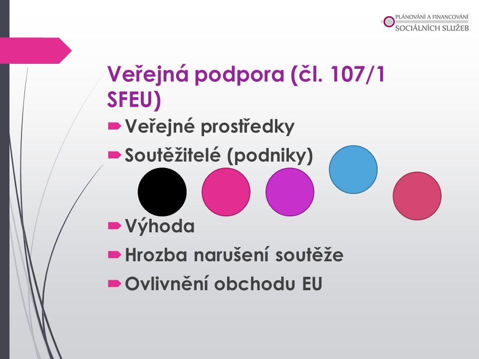 Veřejná podpora (čl. 107/1 SFEU)  Veřejné prostředky  Soutěžitelé (podniky)  Výhoda  Hrozba narušení soutěže  Ovlivnění obchodu EU