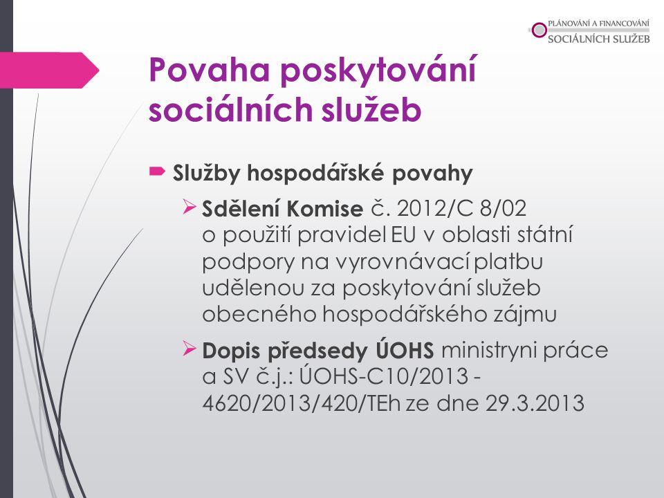 Povaha poskytování sociálních služeb Služby hospodářské povahy Sdělení Komise č. 2012/C 8/02 o použití pravidel EU v oblasti státní podpory na vyrov