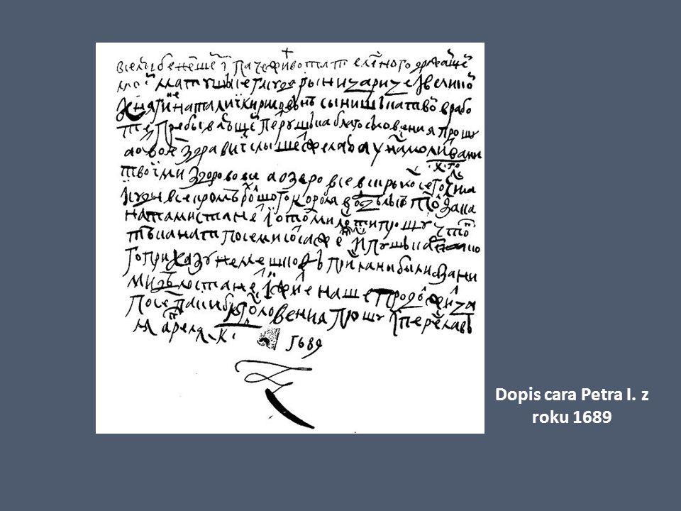 Dopis cara Petra I. z roku 1689